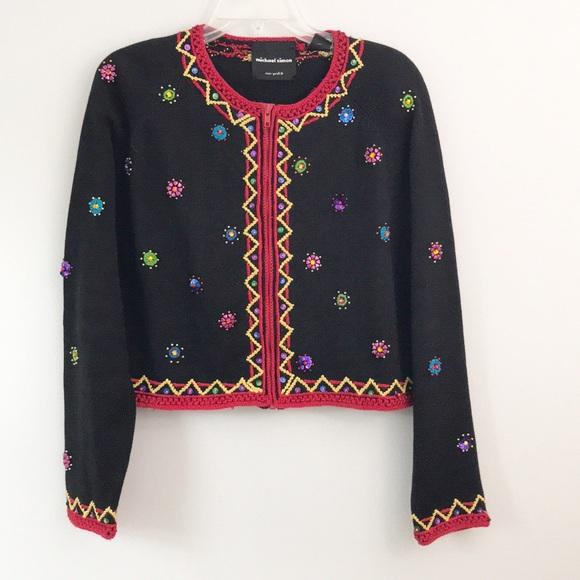 Michael Simon Sweaters - Michael Simon • Vintage • Beaded • Cardigan • EUC